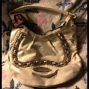 """NWT """"Dereon"""" Creme Hobo Chained Handbag"""
